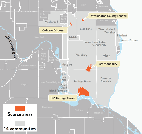 Map showing the area of the 14 east metro communities affected by PFAS, and four orange source areas of PFAS. The sources are in Oakdale, Lake Elmo, Woodbury, and Cottage Grove.